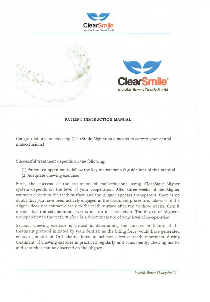 clearsmile-patient-instructions